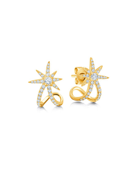 Graziela Gems 18k Yellow Gold Diamond Starburst Ear Cuffs