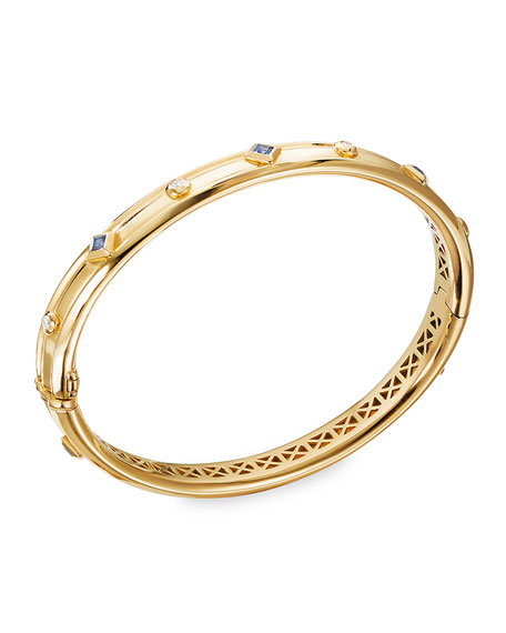 David Yurman Modern Renaissance 18k Diamond & Blue Sapphire Bracelet, Size M