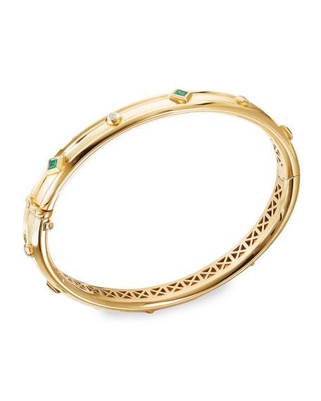 David Yurman Modern Renaissance 18k Diamond & Emerald Bracelet, Size M