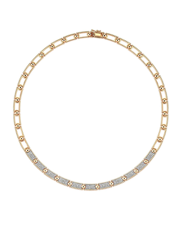 Beads 14k Rose Gold Half 3-Row Diamond Choker
