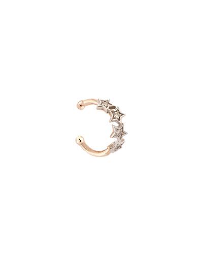 Geometry 14k Rose Gold White Diamond 4-Star Ear Cuff, Single