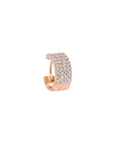 Geometric 14k Rose Gold White Diamond Tiny Hoop Earring, Single