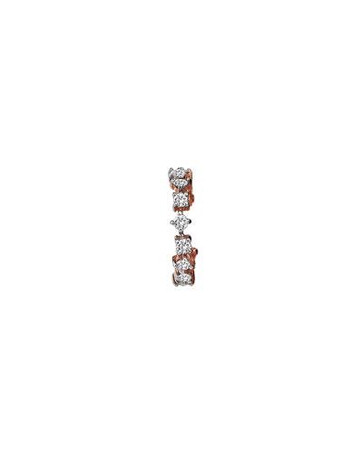 Spring Lightbeam 14k Rose Gold 1-Row White Diamond Earring, Single