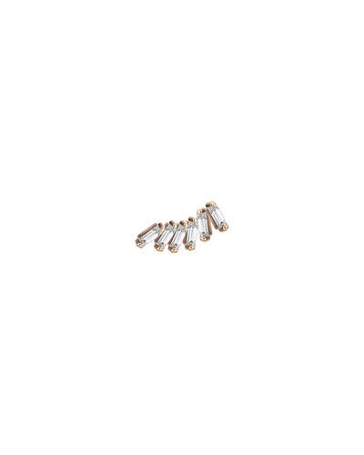 Baguette 14k Rose Gold Arc 6-Diamond Earring, Single