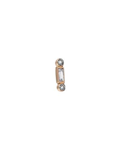 Baguette 14k Rose Gold Bonbon White Diamond Earring, Single