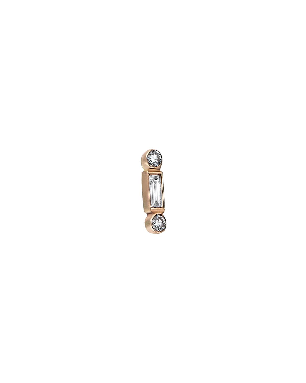 Baguette 14k Rose Gold Bonbon White Diamond Earring