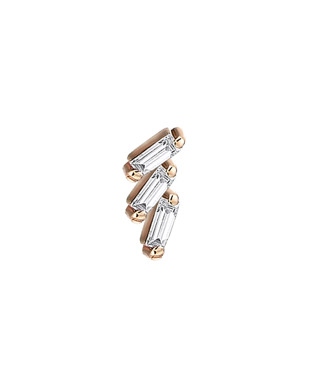 Baguette 14k Rose Gold Step 3-Diamond Earring
