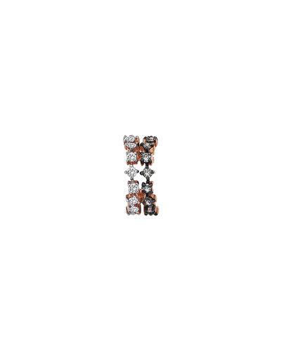Spring Lightbeam 14k Rose Gold 2-Row White/Champagne Diamond Ear Cuff, Single