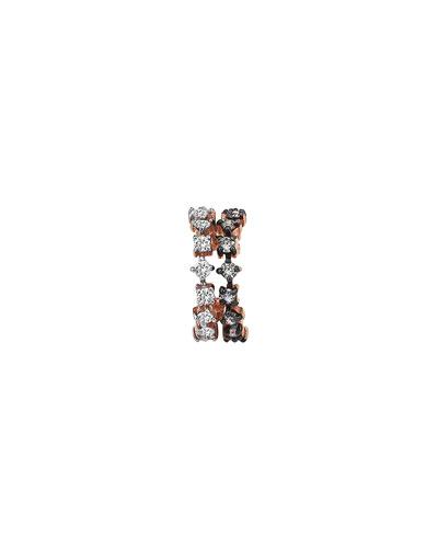 Spring Lightbeam 14k Rose Gold 2-Row White/Champagne Diamond Earring, Single