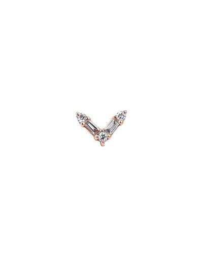 Baguette 14k Rose Gold V 5-Diamond Earring, Single