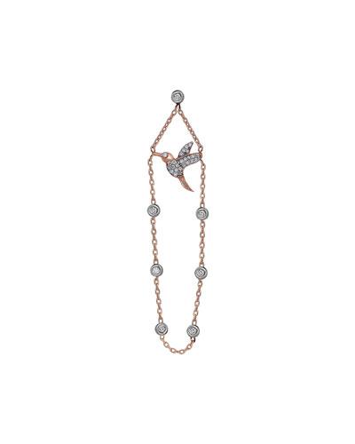 Innerland 14k Rose Gold Diamond Hummingbird Chain Earring, Single