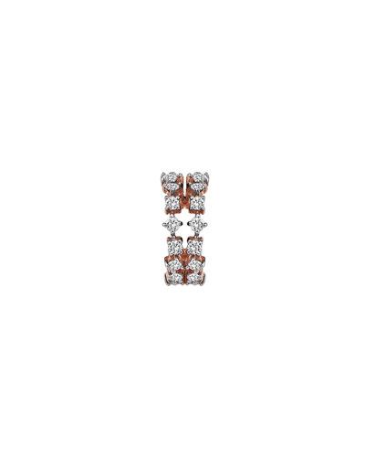 Spring Lightbeam 14k Rose Gold 2-Row White Diamond Ear Cuff, Single