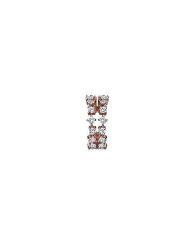 Spring Lightbeam 14k Rose Gold 2-Row White Diamond Earring, Single