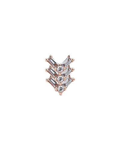 Baguette 14k Rose Gold Chevron 9-Diamond Earring, Single