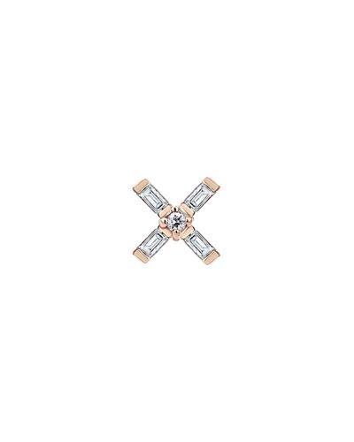 Baguette 14k Rose Gold Vault 5-Diamond Earring, Single