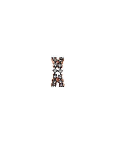 Spring Lightbeam 14k Rose Gold 2-Row Champagne Diamond Ear Cuff, Single