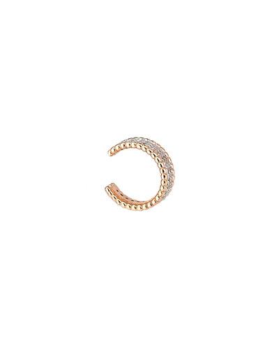 Beads 14k Rose Gold 2-Row Diamond Ear Cuff, Single