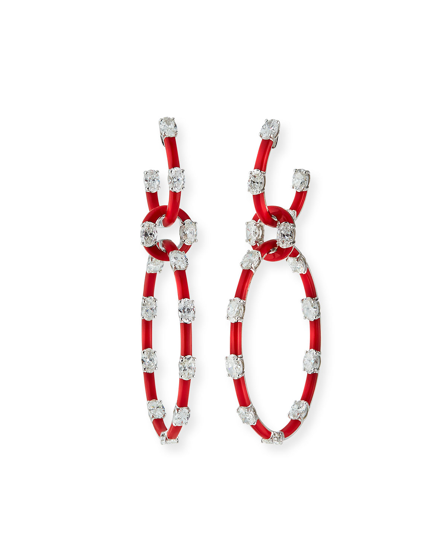 18k White Gold Diamond & Red Ceramic Interlocking Earrings