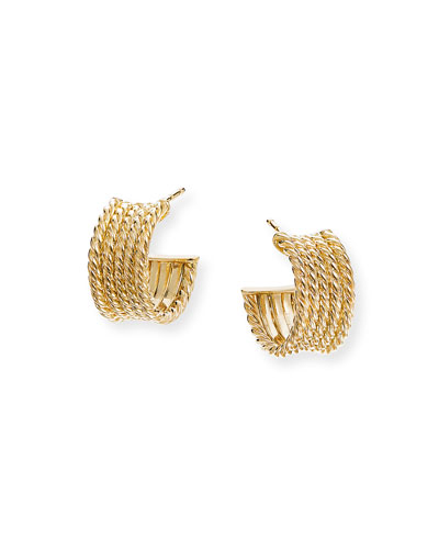 Origami 18k Gold Cable Huggie Hoop Earrings