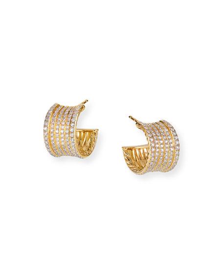 David Yurman Origami 18k Gold Cable Huggie Hoop Earrings w/ Diamonds