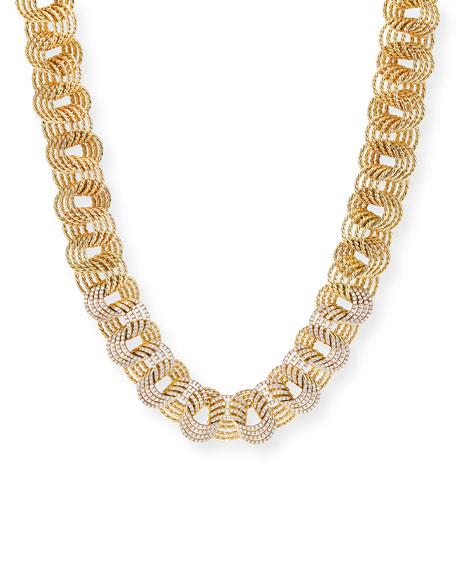 """David Yurman Origami 18k Small-Link Necklace w/ Diamonds, 20""""L"""