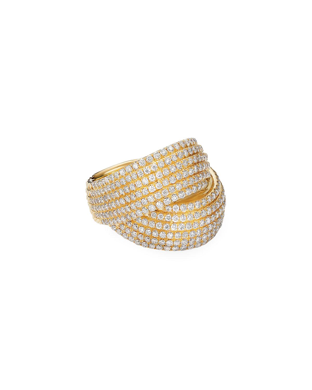 David Yurman Rings ORIGAMI 18K CROSSOVER RING W/ DIAMONDS