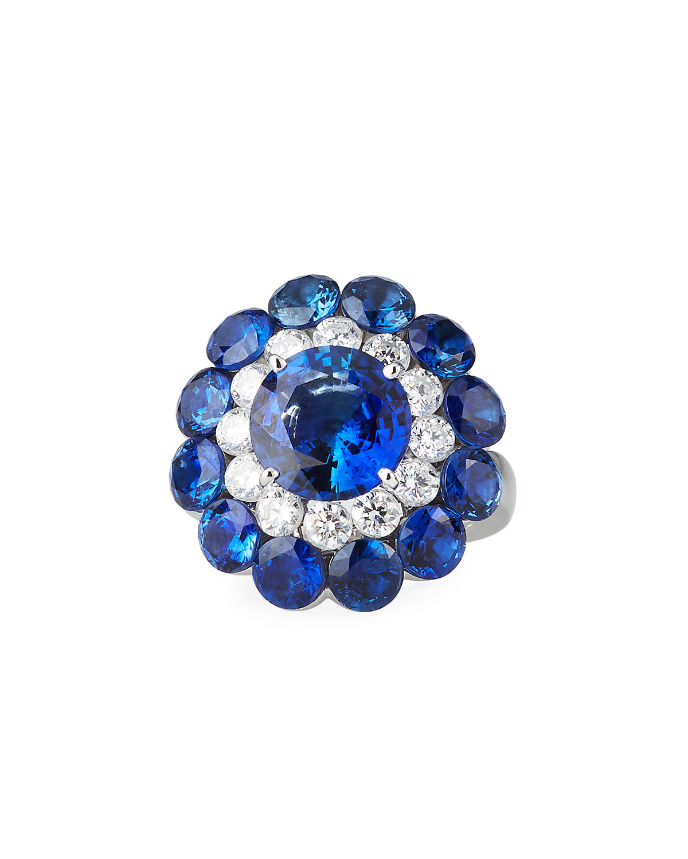 18k White Gold Sapphire Magical Setting Ring w/ Diamonds