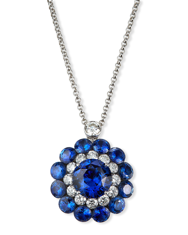 18k White Gold Sapphire Magical Setting Necklace w/ Diamonds
