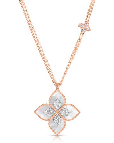 18k Rose Gold Venetian Princess Mother-of-Pearl Diamond Necklace