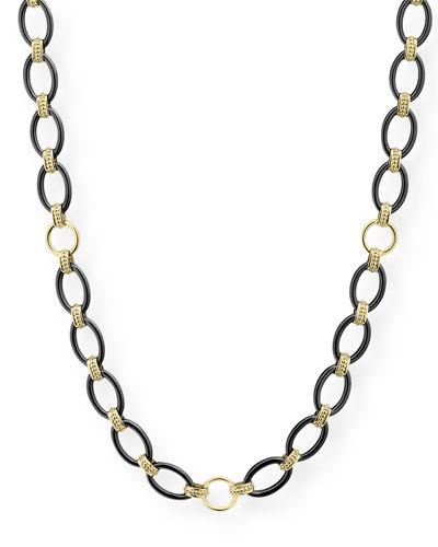 Gold & Black Caviar 2-Station Necklace, 36