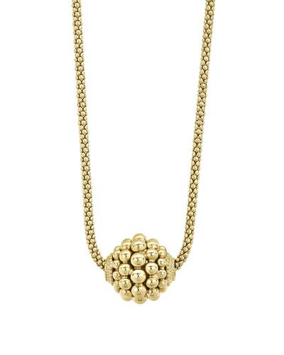 18k Gold Caviar 3mm Panna Ball Bubble Necklace