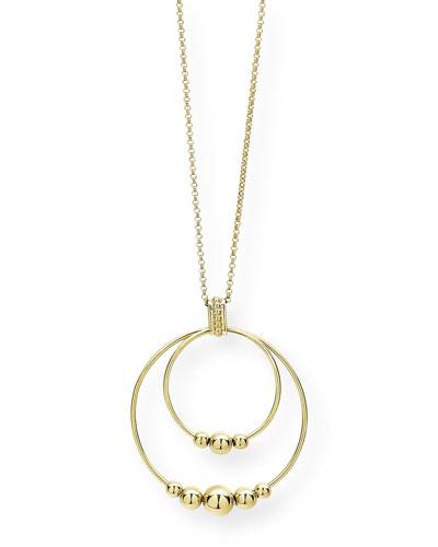 Caviar 18k Gold 2-Circle Pendant Necklace