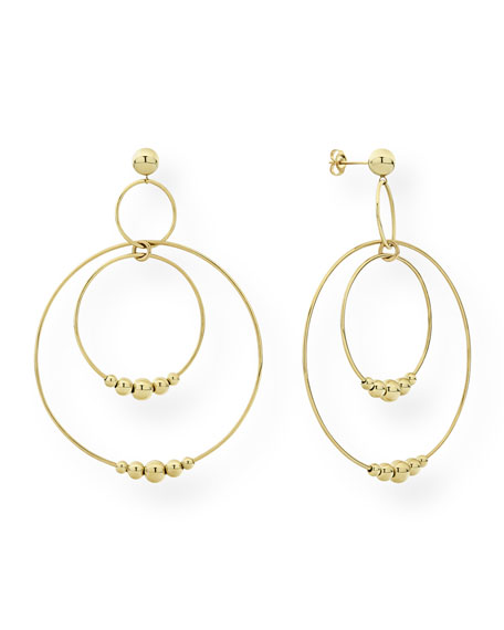 Lagos Caviar 18k Gold 3-Circle Drop Earrings