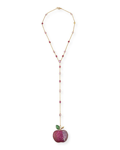 18k Multi-Stone Apple Pendant Necklace
