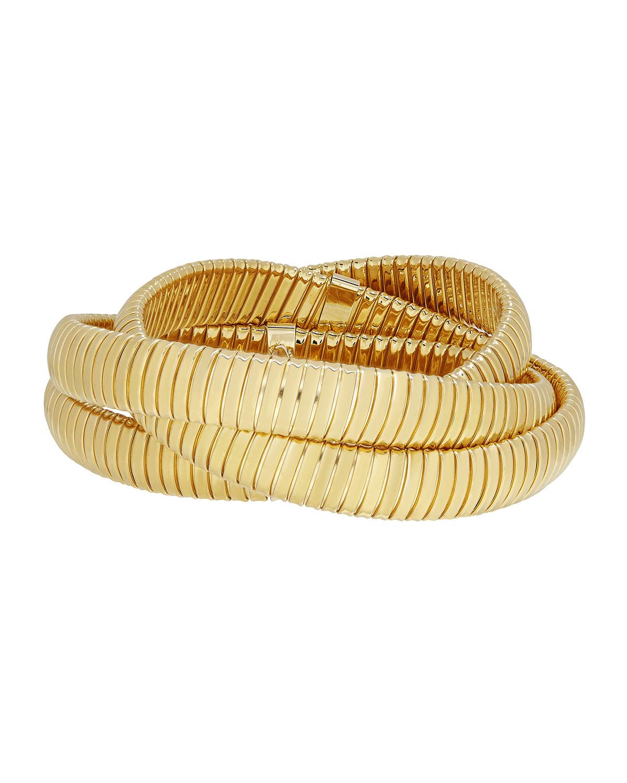 Via Bagutta 18k Gold Triple Tubogas Wrap Bracelet