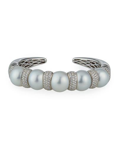 18k White Gold 4-Pearl Diamond Pave Cuff