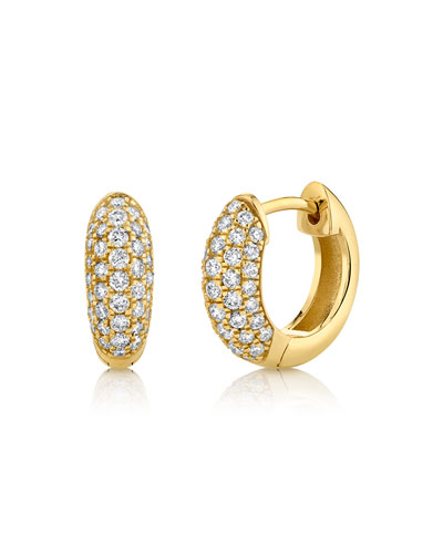 14k Puffy Diamond Huggie Hoop Earrings