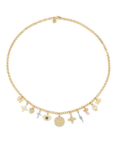 14k Two-Tone Diamond Charm Necklace