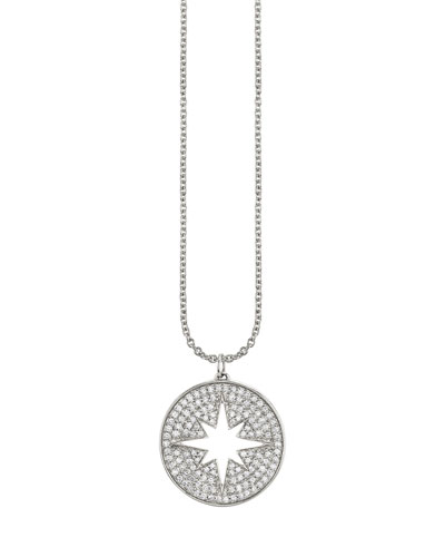 14k Diamond Pave Starburst Medallion Necklace
