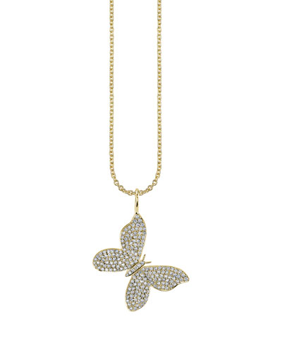 14k Large Diamond Pave Butterfly Charm Necklace