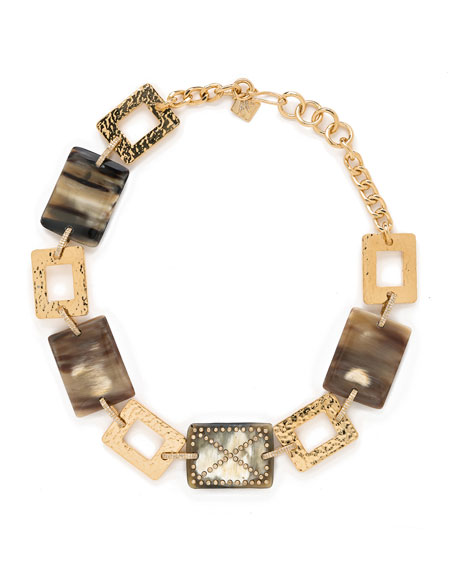 Ashley Pittman Avery Diamond Horn-Plate Necklace