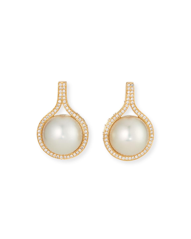 18k Classic Diamond South Sea White Pearl Earrings