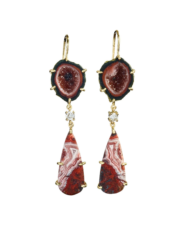 18k Bespoke 2-Tier One-of-a-Kind Luxury Earrings w/ Black Druzy