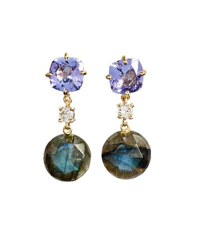 18k Bespoke 2-Tier Tribal Luxury Earrings w/ Lavender Amethyst, Faceted ...