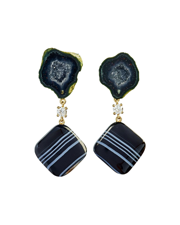 18k Bespoke 2-Tier Tribal Luxury Earrings w/ Black Tabasco Geode w/ Agate Druzy