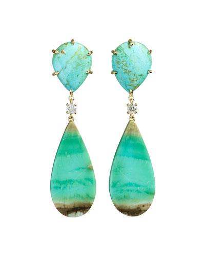 18k Bespoke 2-Tier Tribal Luxury Earrings w/ Turquoise, Blue Opal Petrified ...