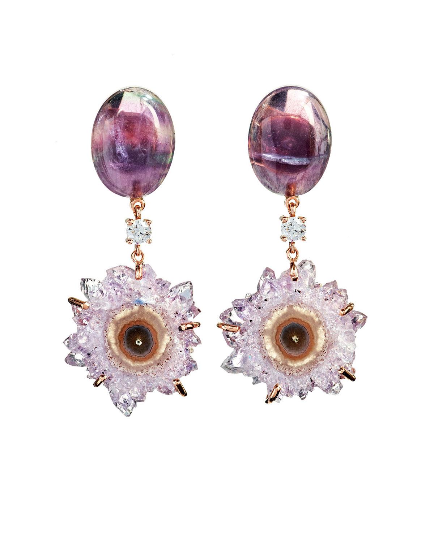 18k Bespoke 2-Tier One-of-a-Kind Luxury Earrings w/ Purple Fluorite