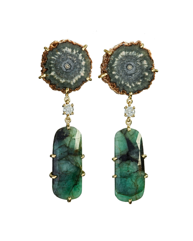 18k Bespoke 2-Tier One-of-a-Kind Luxury Earrings w/ Brown Stalactite