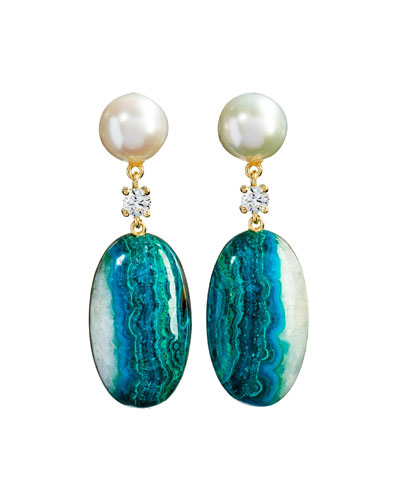 18k Bespoke 2-Tier Tribal Luxury Earrings w/ Pearl, Chrysocolla Quartz ...