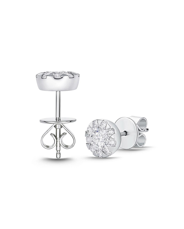 18k White Gold Diamond Bouquet Stud Earrings